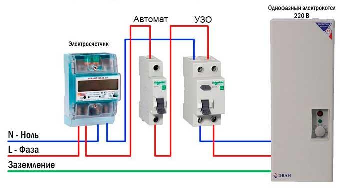 Схема подключения однофазного электрического котла в частном доме